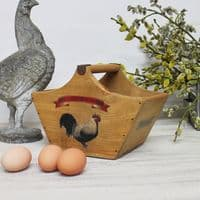 Rustic Handcrafted Trug Vintage Wooden Crate  Farm Fresh Eggs Box